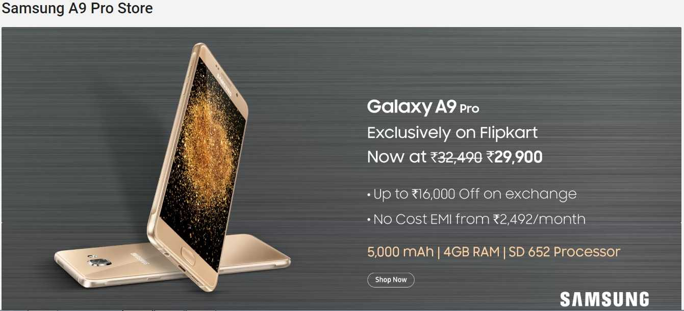 Samsung Galaxy A9 Pro Gets Discounted on India's Flipkart, Up to Rs 16,000 off on Exchange