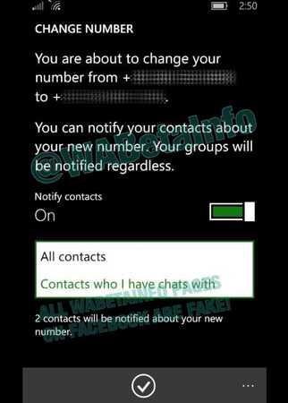 WhatsApp Notifies to Change Number